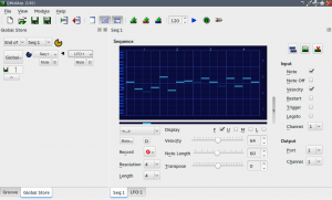 QMidiArp's Window, showing the global settings (left column). On the right column, a sequencer and a LFO (background) are running and sending their data to the Volca Sample.